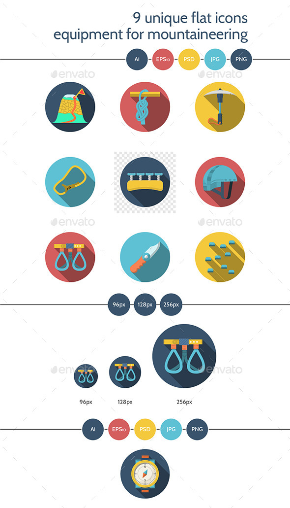 Flat Colored Vector Icons for Rappelling - Icons
