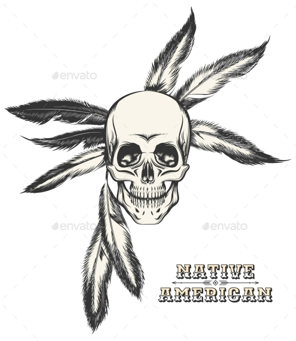 The Indian Skull - Tattoos Vectors