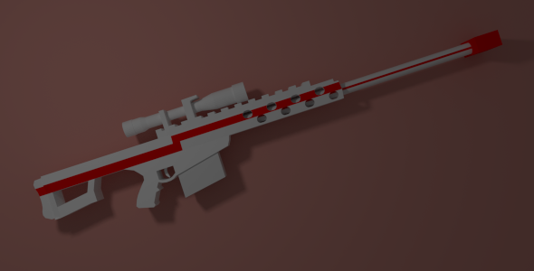 LowPoly Barrett .50 call - 3DOcean Item for Sale
