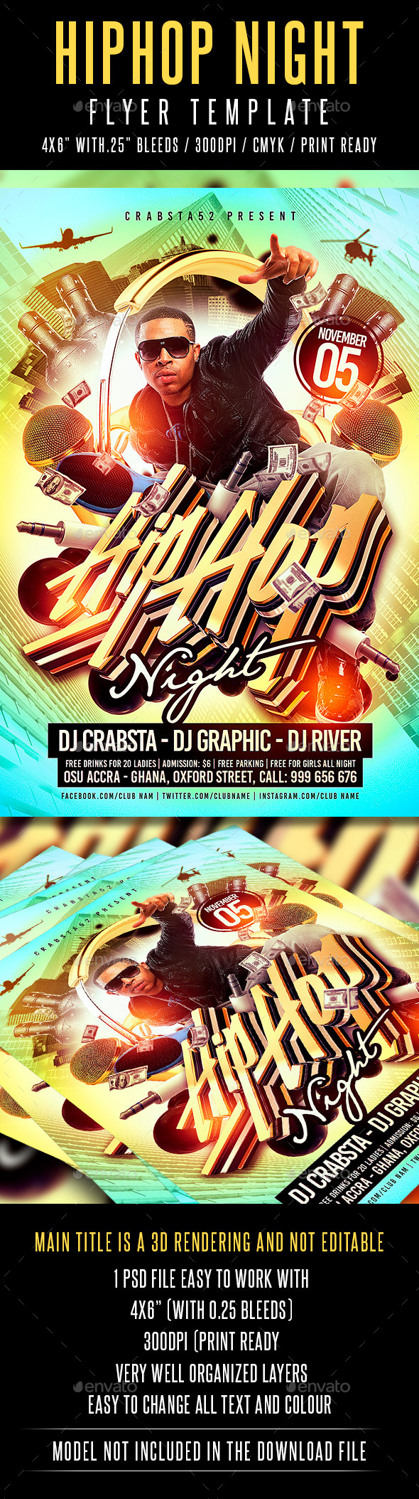 Hip Hop Night Flyer Template - Flyers Print Templates