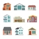 Vector Set Of Cottage Building Flat Icons - GraphicRiver Item for Sale