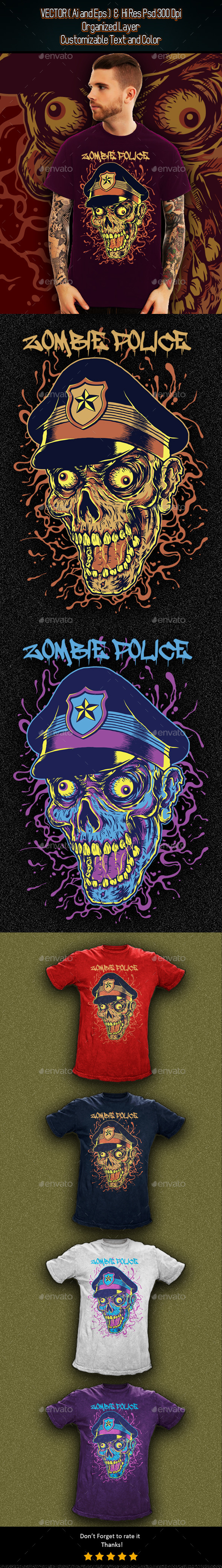 Zombie Head Police - Grunge Designs