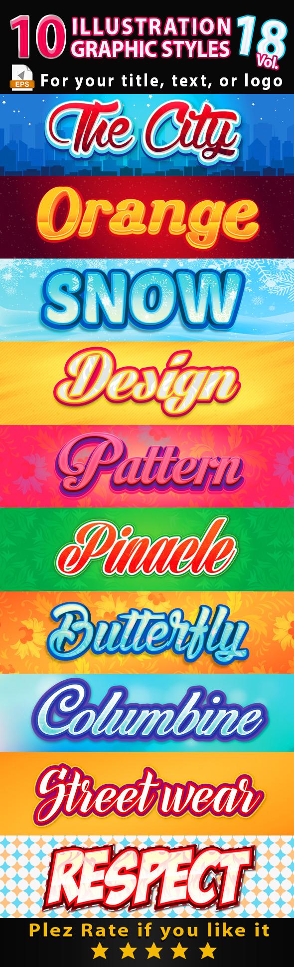 10 Illustrator Graphic Styles Vol.18