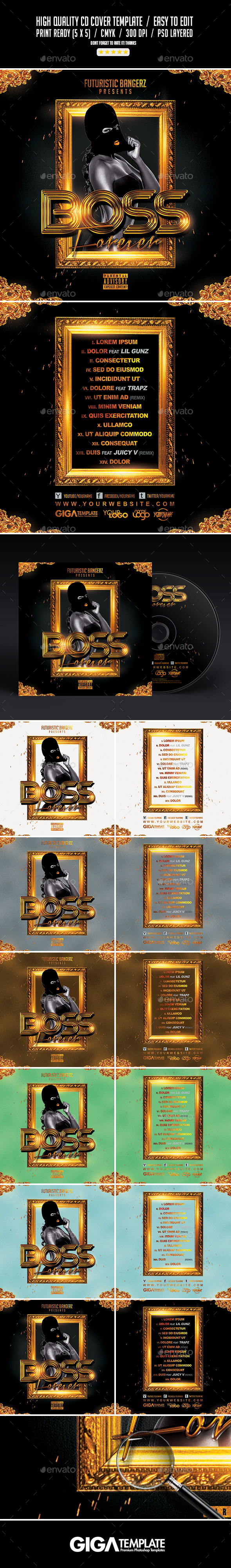 Boss Forever | Mixtape Tape Album Cover Template - CD & DVD Artwork Print Templates