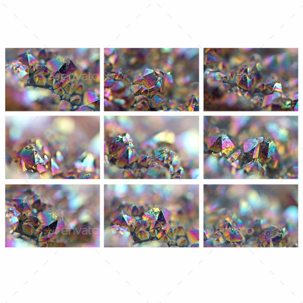 9 JPG files Multi-coloured crystals - Stone Textures