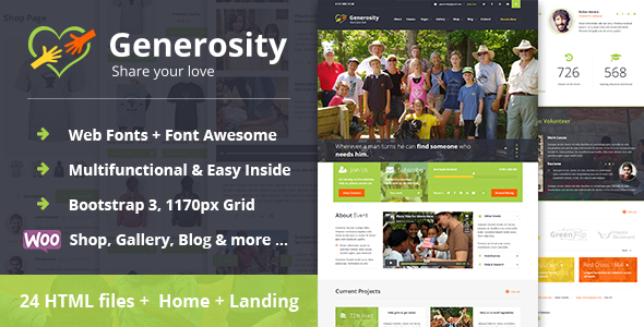 Generosity - Charity/Nonprofit HTML Template