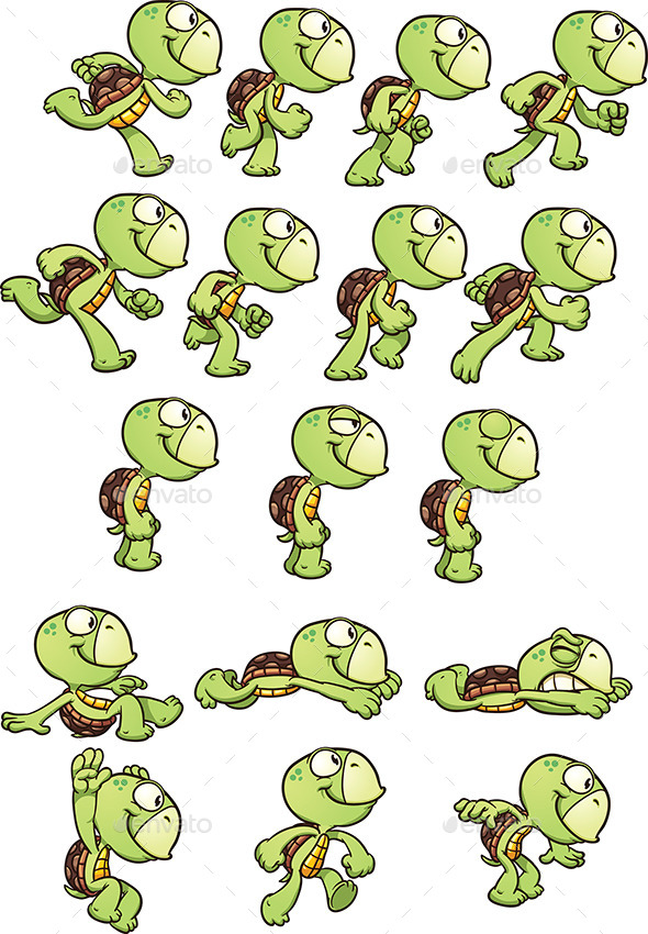 Cartoon Turtle - Sprites Game Assets