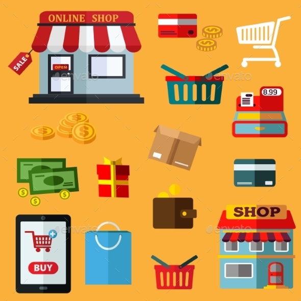 Shopping And Retail Flat Icons - Retail Commercial / Shopping