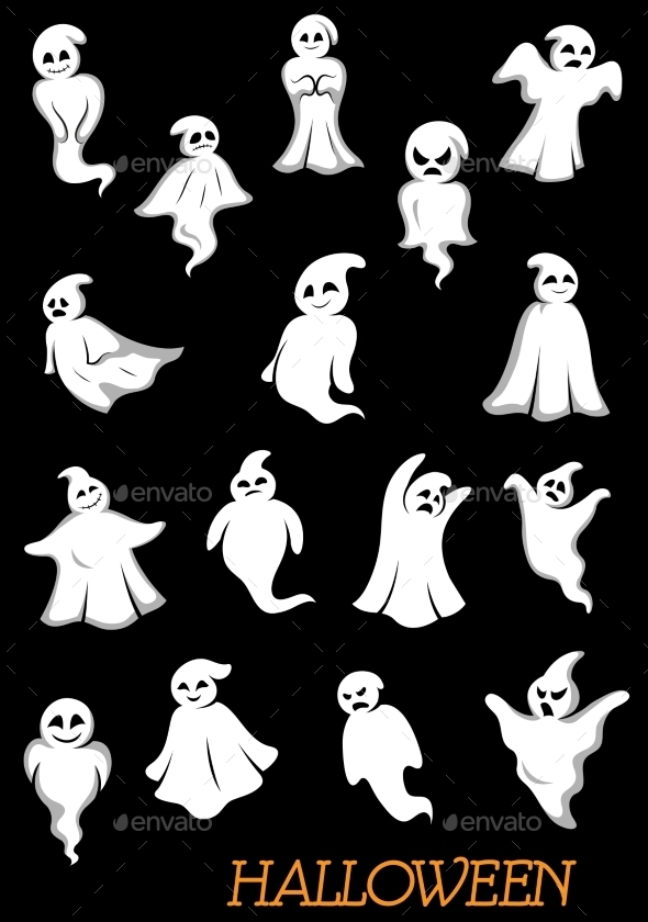 White Halloween Ghosts And Ghouls