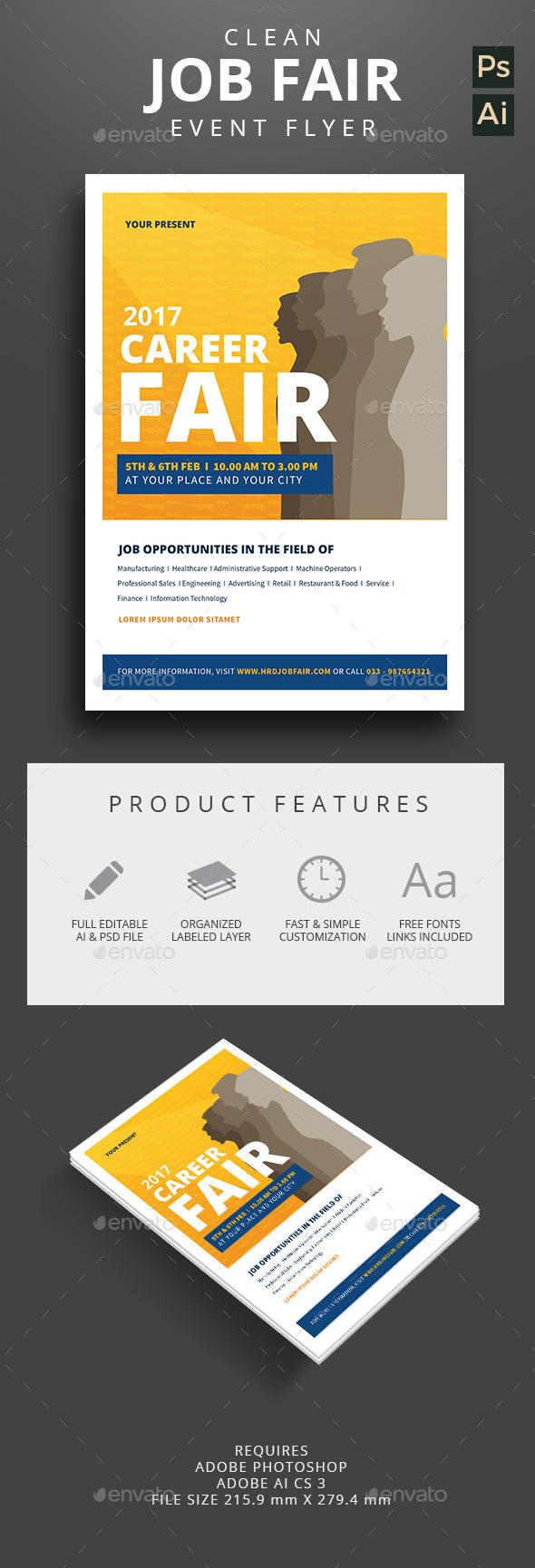 Clean Job Fair Event Flyer - Corporate Flyers