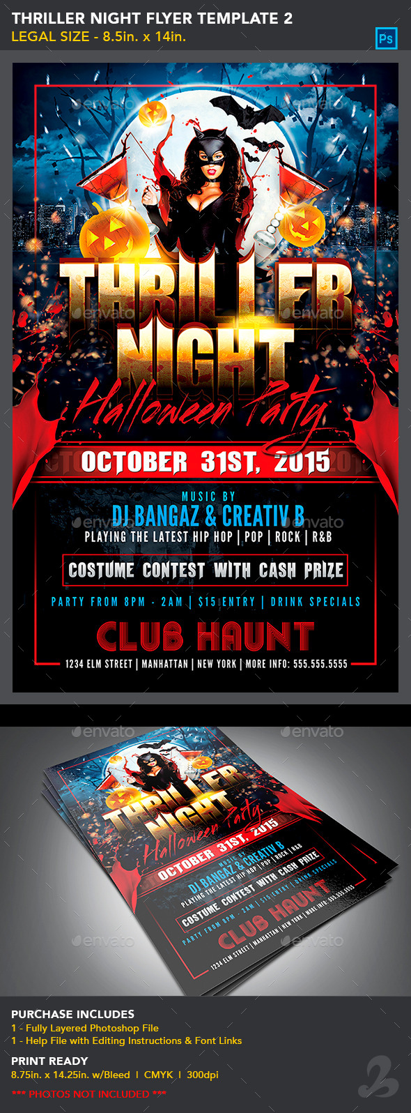 Thriller Night Halloween Flyer Template 2_8.5x14 - Holidays Events