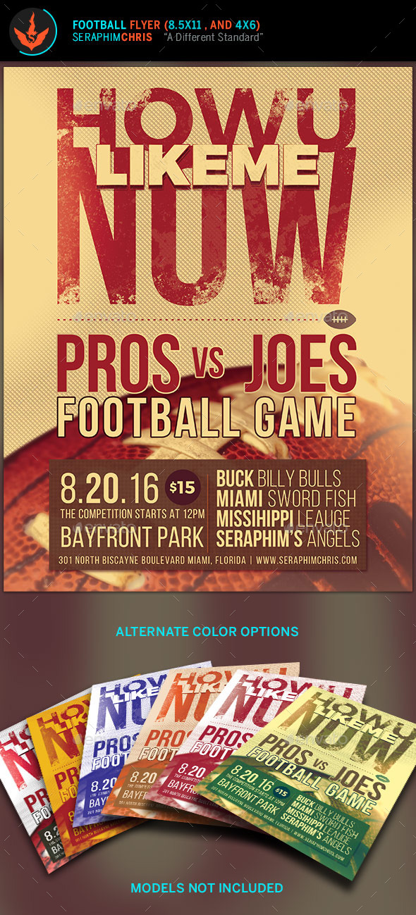How U Like Me Now: Football Flyer Template - Sports Events