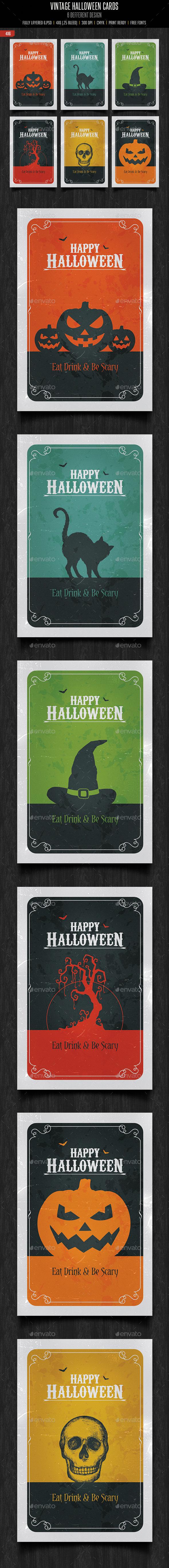 Vintage Halloween Cards - Cards & Invites Print Templates