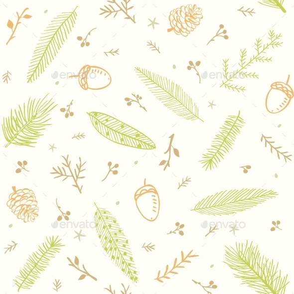 Seamless Pattern Branches - Flowers & Plants Nature
