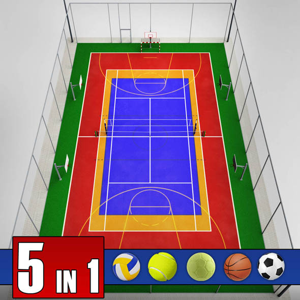 Multi sport court centrum pack - 3DOcean Item for Sale