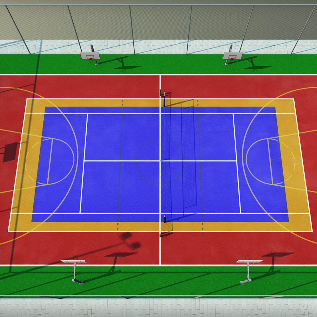 Multi sport court centrum pack by kr3atura 3docean for Sport court size