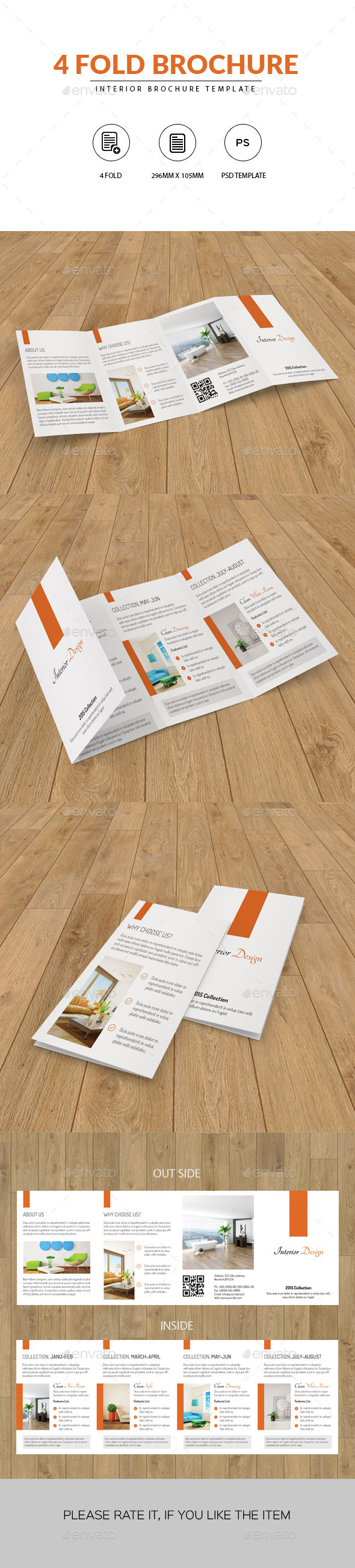 4 Fold Minimal Interior Brochure - Corporate Brochures