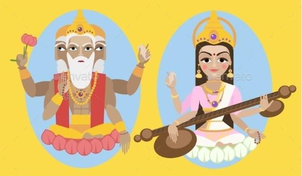Vector Lord Brahma And Sarasvati Devi - Religion Conceptual