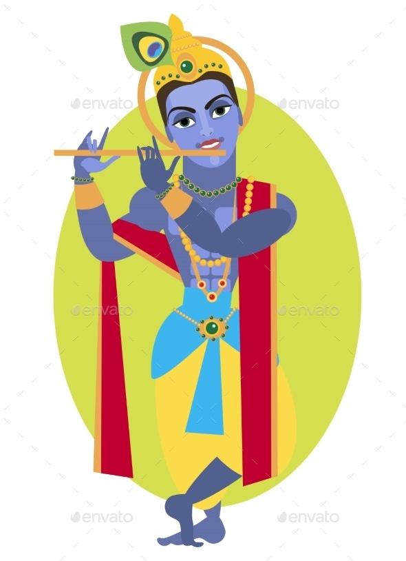 Vector Lord Vishnu Krishna - Religion Conceptual