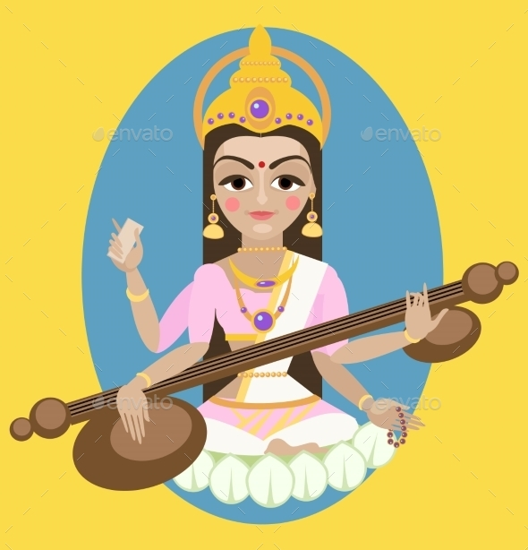 Vector  Sarasvati Devi - Religion Conceptual