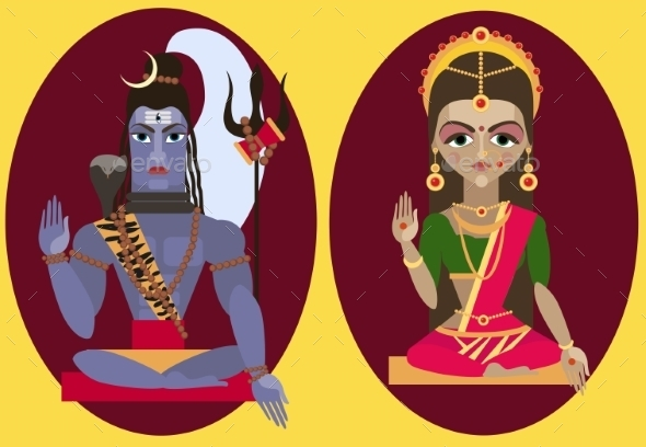 Vector Lord Shiva And Mata Parvati - Religion Conceptual