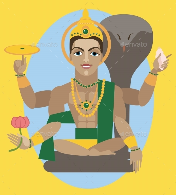 Vector Lord Vishnu  - Religion Conceptual