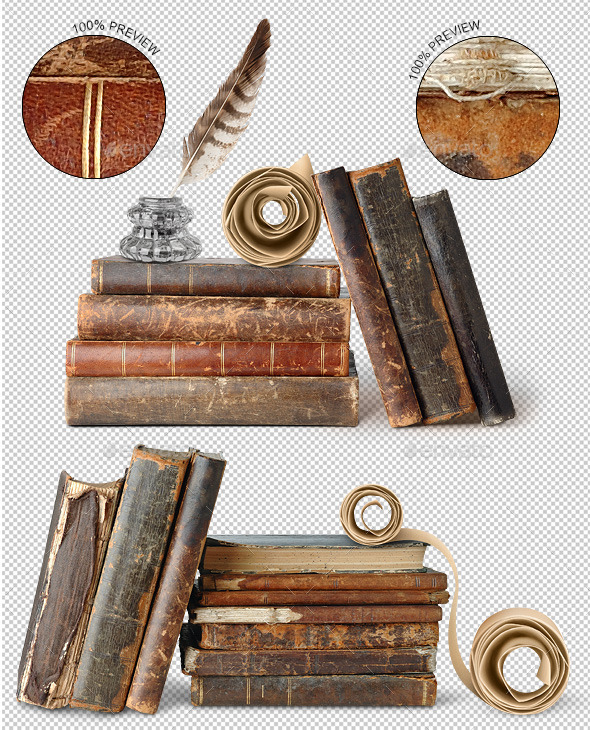 Ancient Books, Scroll, Inkwell and Quill. - Home & Office Isolated Objects