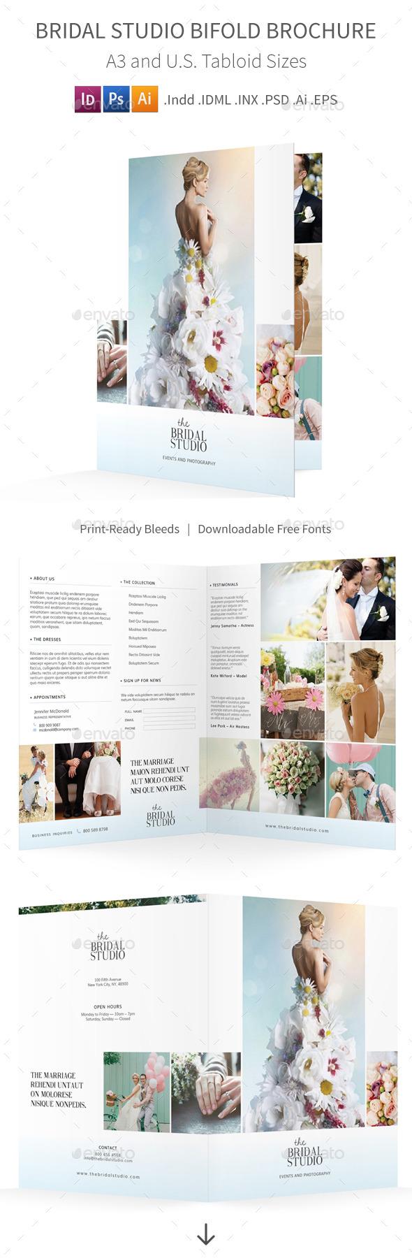 Bridal Studio Bifold / Halffold Brochure - Informational Brochures