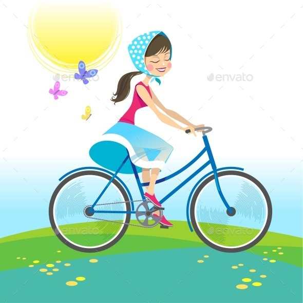 Girl Riding Bike on Summer Vacation. Vector - Characters Vectors