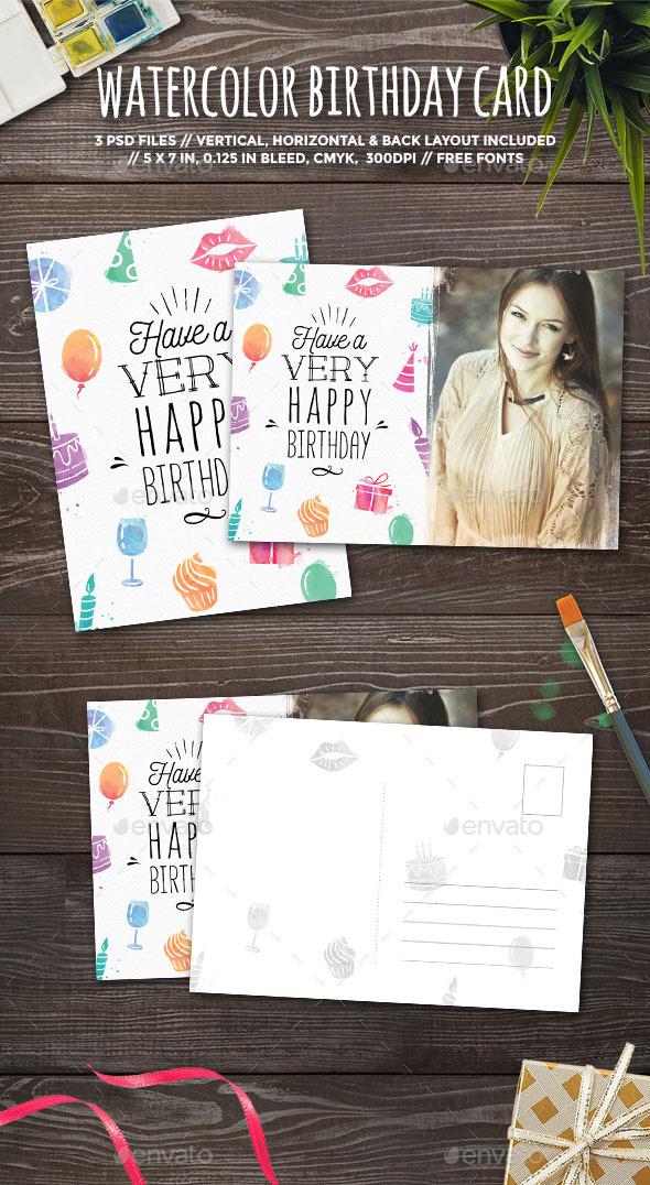 Watercolor Birthday Card - Birthday Greeting Cards