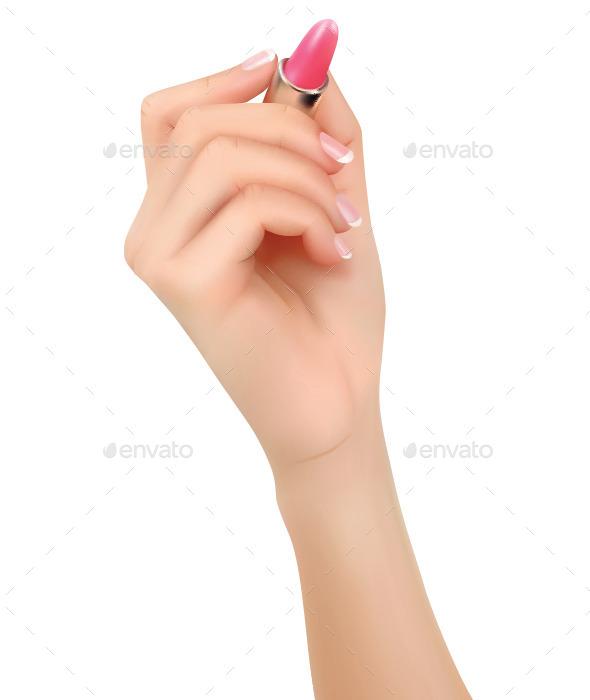 Hand Holding Lipstick