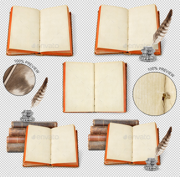 Ancient Book, Inkwell and Quill - Home & Office Isolated Objects