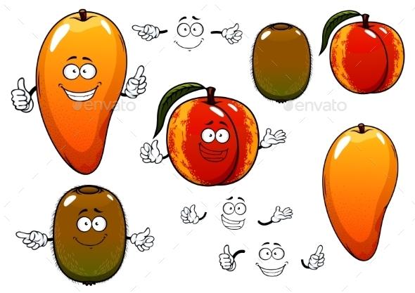 Fresh Sweet Mango Peach And Kiwi Fruits