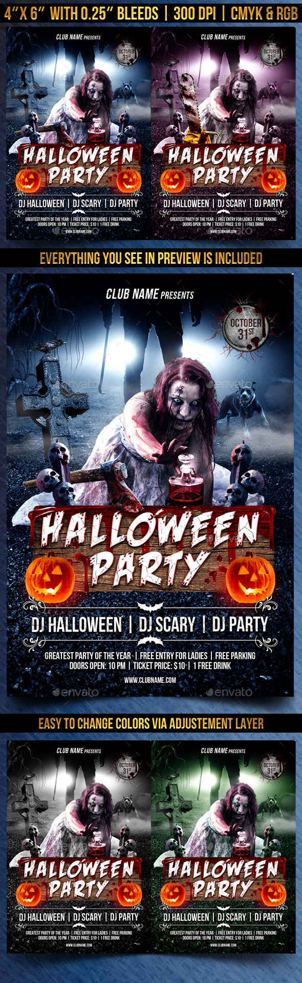 Scary Halloween Party Flyer - Clubs & Parties Events