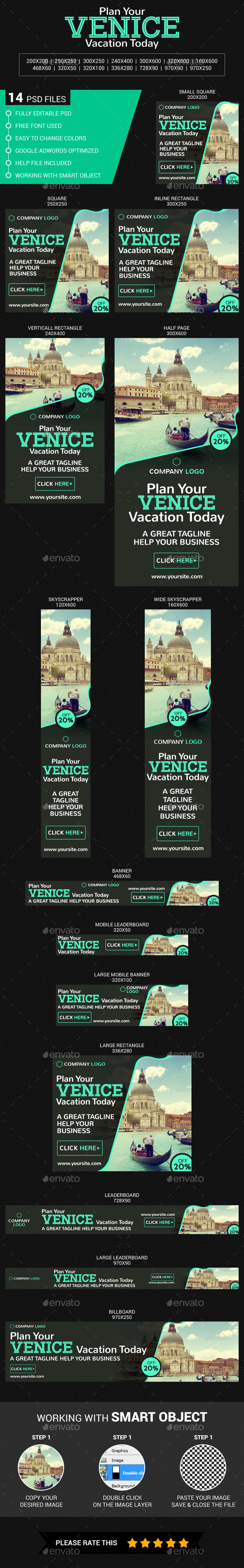Travel In Venice - Banners & Ads Web Elements