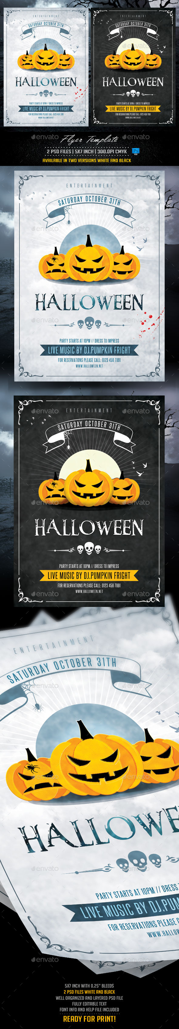 Halloween Flyer Template White and Black - Holidays Events