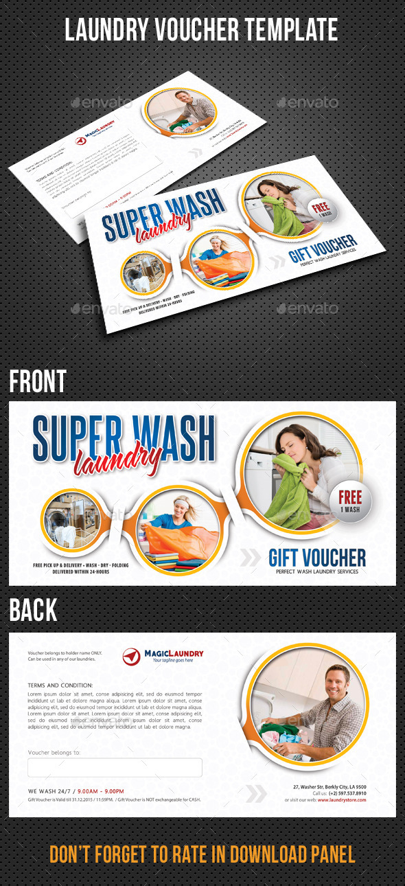 Laundry Services Gift Voucher V02 - Cards & Invites Print Templates