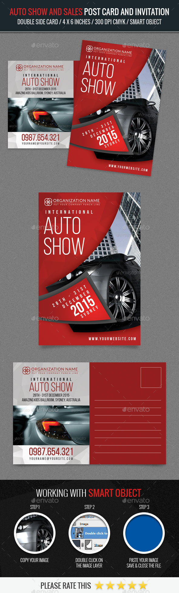 Auto Show and Sales Post Card Template