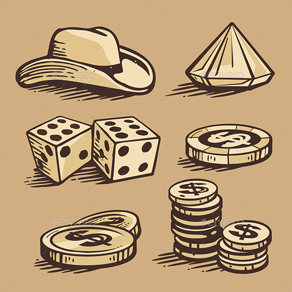 Casino Elements and Stetson - Objects Vectors