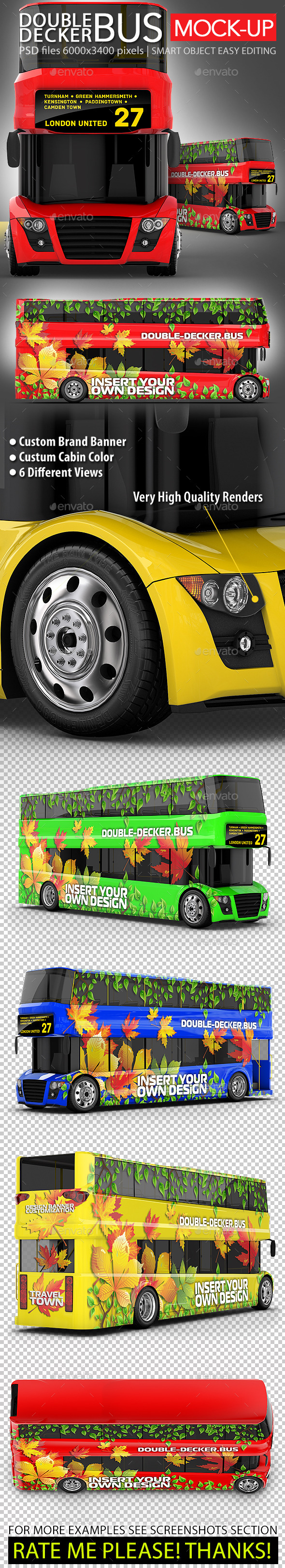 Red Double-Decker Bus Mock-up - Vehicle Wraps Print