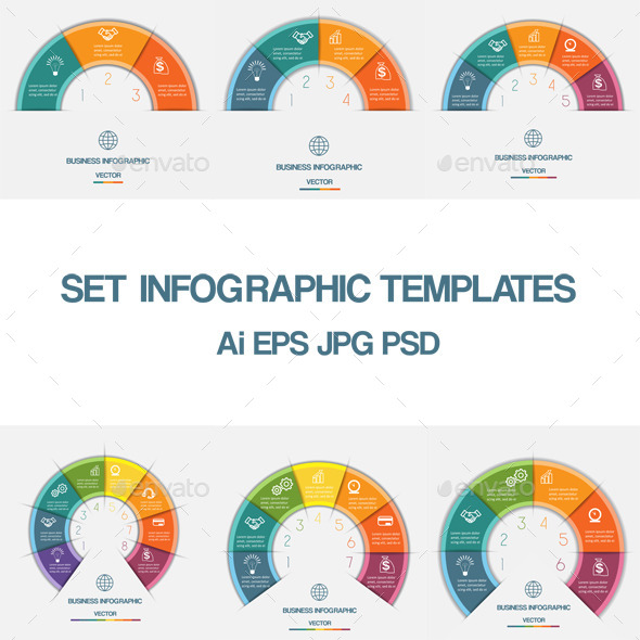 Infographic Colorful Semicircle template with text - Infographics