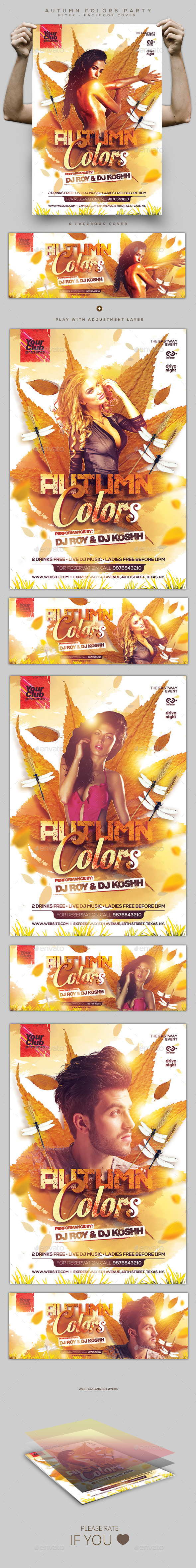 Autumn Colors Party Flyer and Facebook Cover - Events Flyers
