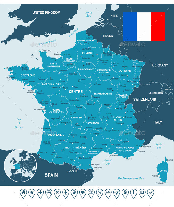 France Map, Flag and Navigation Labels. - Travel Conceptual