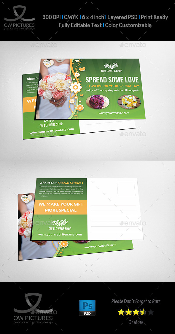 Flower Shop Postcard Template - Cards & Invites Print Templates