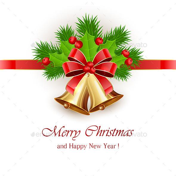 Christmas Bells and Ribbon - Christmas Seasons/Holidays