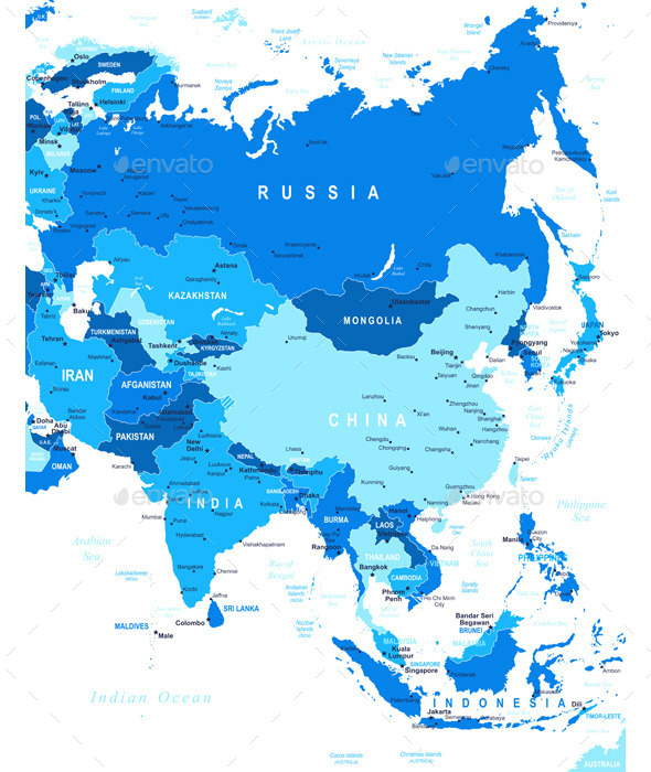 Asia - Map - Illustration. - Travel Conceptual