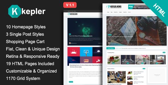 Kepler – Premium Magazine/Blogging HTML Template