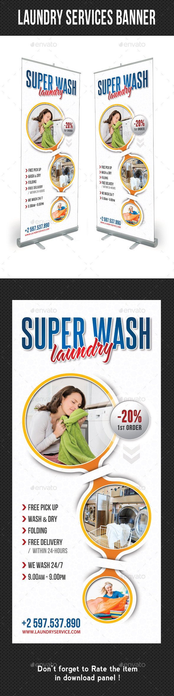 Laundry Services Banner Template V02 - Signage Print Templates