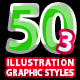 50 Illustrator Graphic Styles Vol.3 Bundle - GraphicRiver Item for Sale