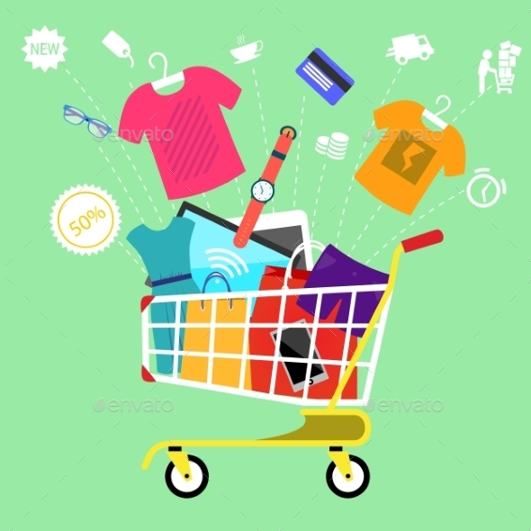 Shopping Cart With Goods - Retail Commercial / Shopping